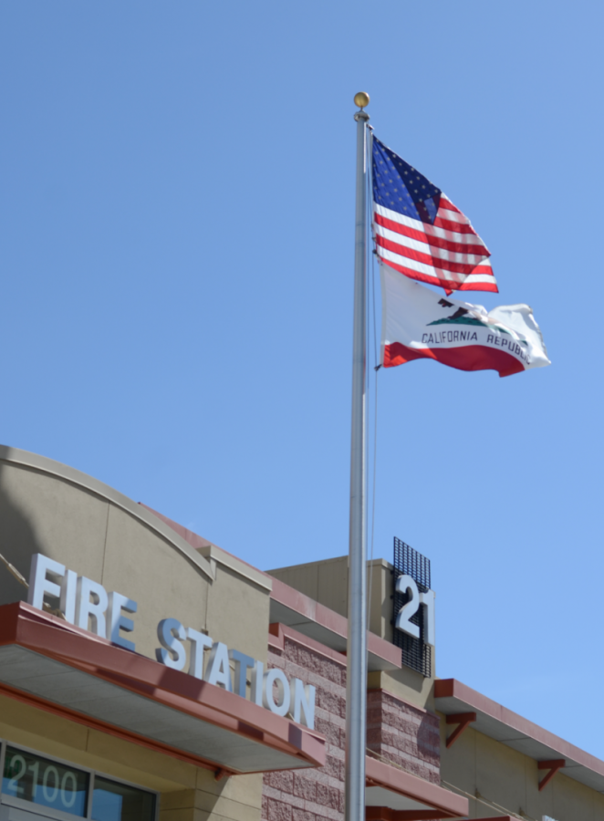 The American and Californian flag fly over the San José Fire Department Station 21 on Sept. 19. Out of the 415 emergency service workers who died on Sept 11., 343 were firefighters according to the New York City Fire Department.