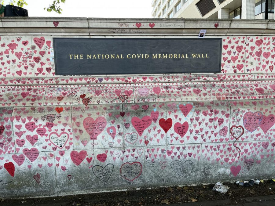 Hearts line the National COVID Memorial Wall in Westminster along the River Thames in the United Kingdom.