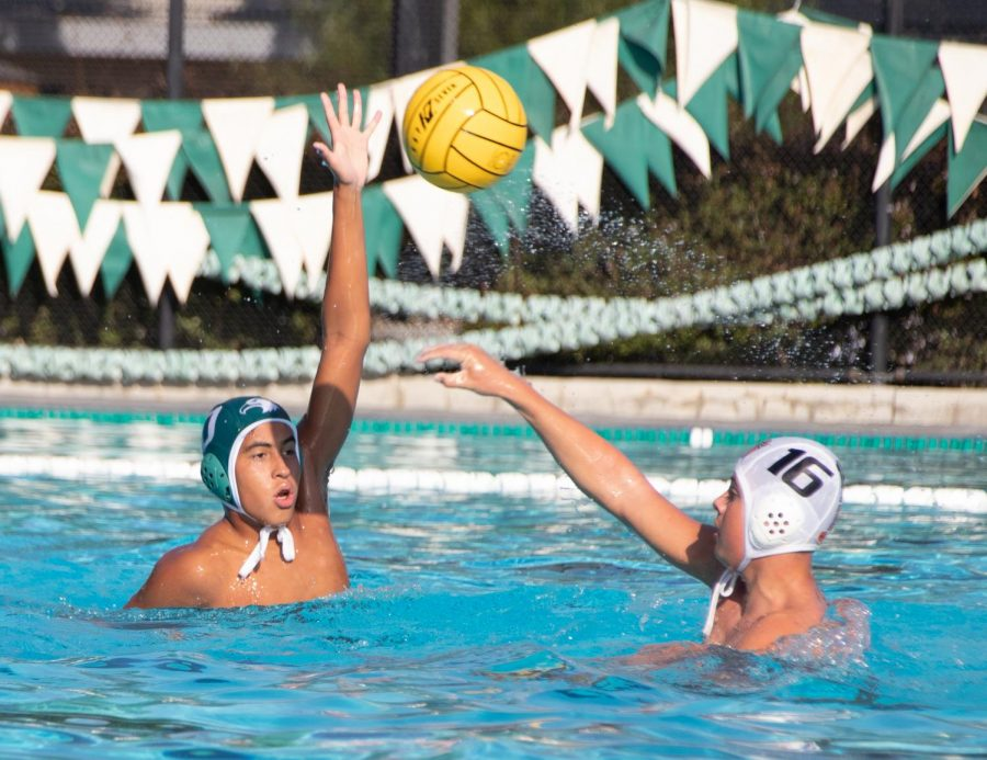 Oliver Roman (9) blocks a pass from an opposing player during the junior varsity water polo teams match against Los Gatos on Tuesday. The boys won 13-3.