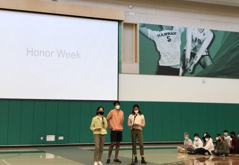 Senior honor council representatives Rohan Thakur, Alexa Lowe and Arely Sun announce Honor Week. An underclassman and an upperclassman can pair up, find a similarity with each other and submit a selfie together throughout the week for spirit points.