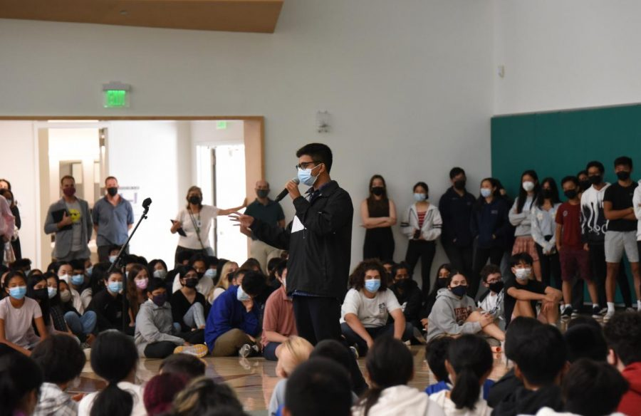 Associated+Student+Body+%28ASB%29+Vice+President+Ayan+Nath+speaks+after+he+and+other+members+of+student+council+presented+a+video+on+cleanliness+on+campus+during+lunch.+The+other+day%2C+I+was+walking+by%2C+I+heard+someone+say%2C+Oh%2C+my+God%2C+we+go+to+Harker%2C+we+cant+afford+to+buy+more+forks%3F+Theres+such+a+shortage+of+forks.+And+thats+because+youre+throwing+the+forks+away.