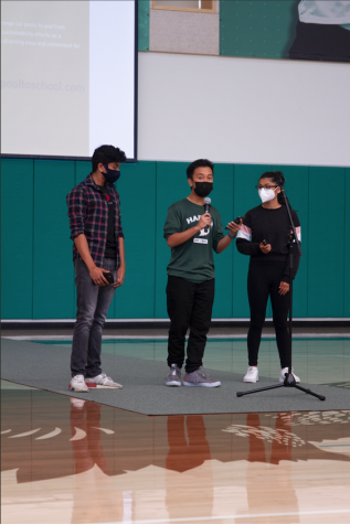Junior class council representative and head of the Campus Life Committee Kris Estrada (11), senior class council representative Sujith Pakala (12) and sophomore class council representative Anaya Mandal (10) provided reminders to the school community, such as putting bowls, plates, trays and utensils away properly.