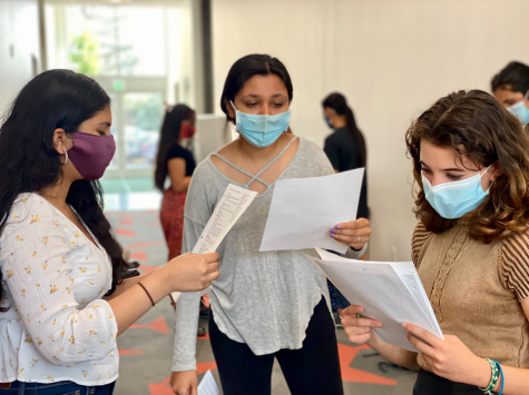 """Namrata Karra (11), Saumi Mehta (12) and Paulina Gicqueau (11) rehearse lines during the callback auditions on Thursday, Sept. 2. The Fall Play this year, """"Much Ado About Nothing,"""" will be performed on Oct. 30 and 31."""