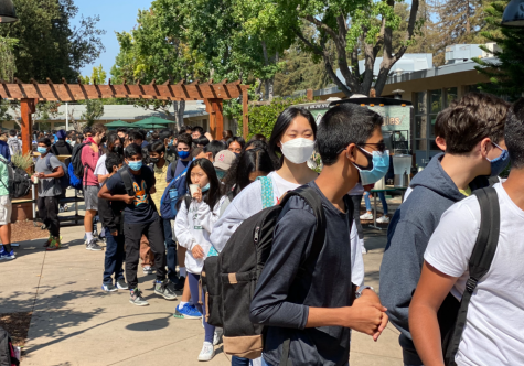 Students stand in the lunch line trailing into the quad on Aug. 23. Due to Harker's COVID-19 practices in trying to limit student numbers indoors, faculty have been trying to keep the line inside as short as possible, leading to longer lines outside.