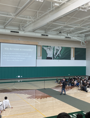 Upper school English teacher Christopher Hurshman delivered a speech as a faculty speaker for Honor Week about the vulnerability associated with behaving honorably. In a sense, every time I offer respect or honesty to someone, Im taking a risk, Hurshman said. Every time I receive it, Im receiving a gift.