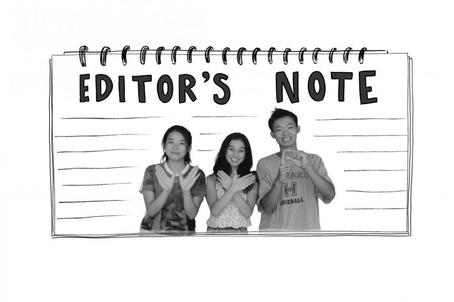 Winged Post Editors-in-Chief Michelle Liu (12) and Emily Tan (12) hold up the newspaper initials along with Managing Editor Mark Hu (12).