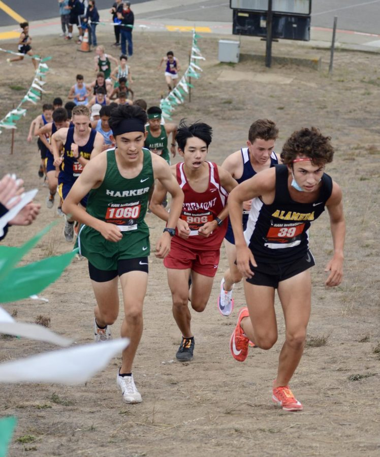Junior Rigo Gonzales pushes up a hill during the Ram Invitationals varsity boys race at Westmoor High school. The varsity boys raced at 3:30 p.m., following the JV boys at 1:30 p.m. and the varsity girls at 2:30 p.m.