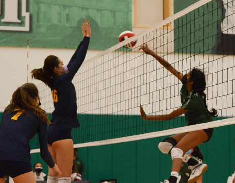 Juhi Madala (10) jumps to hit the ball. The varsity girls volleyball team will take on Mercy High School today at 5:30 p.m. for Senior Night.