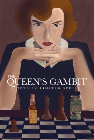 Chess master Beth Harmon concentrates over a chess board of pieces and pills. Netflix limited series The Queens Gambit broke numerous viewership records and won 11 Emmy awards.
